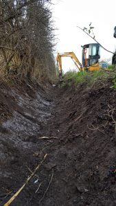 2.5 Tonne Excavator clearing ditch